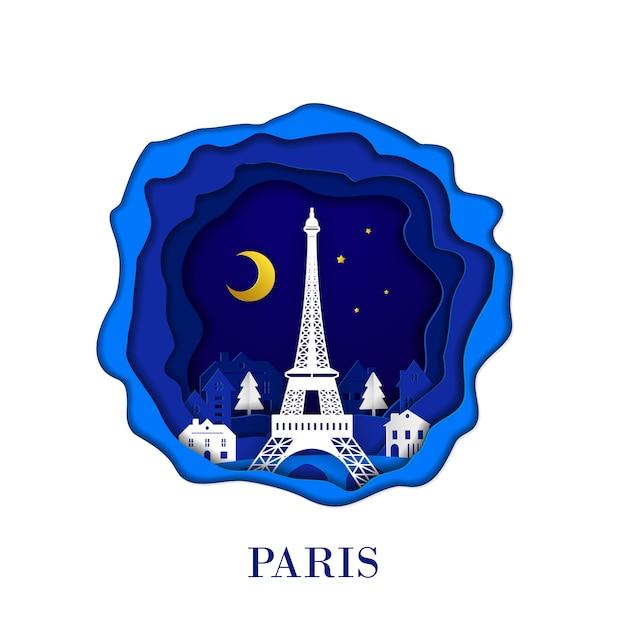 La città francese di parigi nell'arte della carta del mestiere digitale Vettore Premium