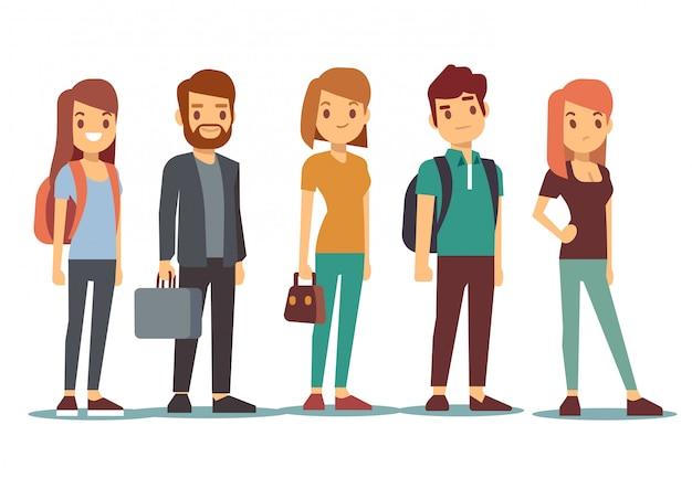 La coda dei giovani. aspettando donne e uomini in fila. illustrazione vettoriale Vettore Premium