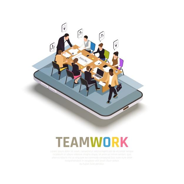 La collaborazione del lavoro di squadra avvantaggia la composizione isometrica su smartphone con il lavoro di gruppo che condivide idee che prendono decisioni insieme Vettore gratuito