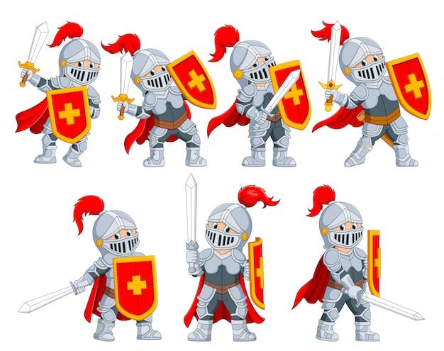 La collezione del cavaliere con le diverse pose Vettore Premium