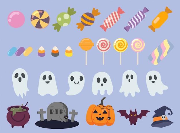 La collezione di caramelle carine alla festa di halloween. la collezione di fantasmi. Vettore Premium