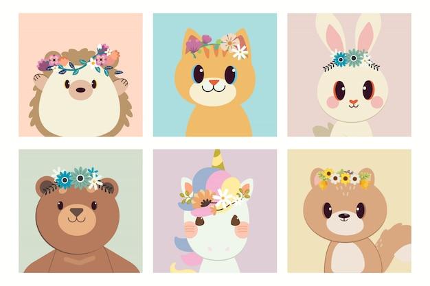 La collezione di personaggi del riccio gatto coniglio orso unicorno e scoiattolo con l'anello di fiori. Vettore Premium