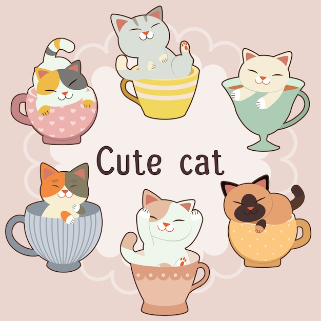 La collezione di simpatici gatti nel set di grandi tazze da tè. Vettore Premium