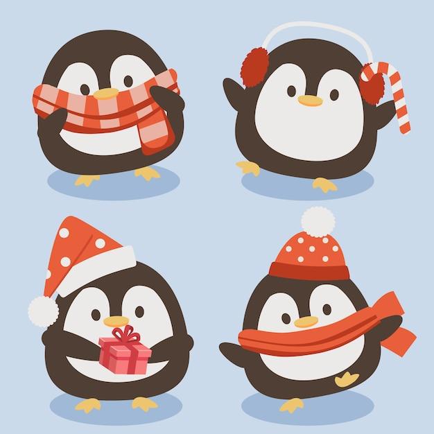 La collezione di simpatici pinguini in tema natalizio. Vettore Premium