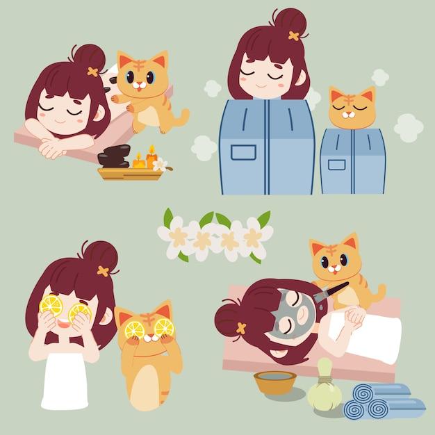 La collezione di spa. il personaggio di ragazza e gatto nei trattamenti spa con pietre calde. Vettore Premium
