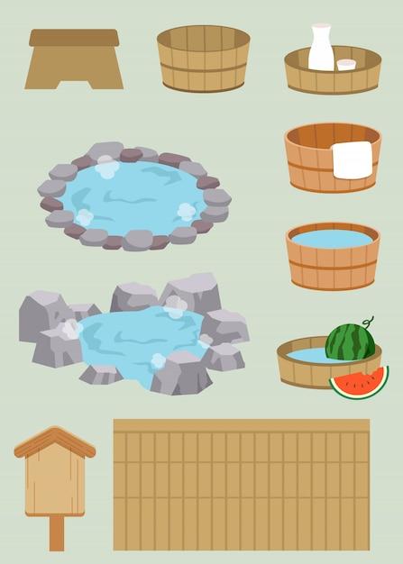 La collezione di un set da bagno termale giapponese Vettore Premium