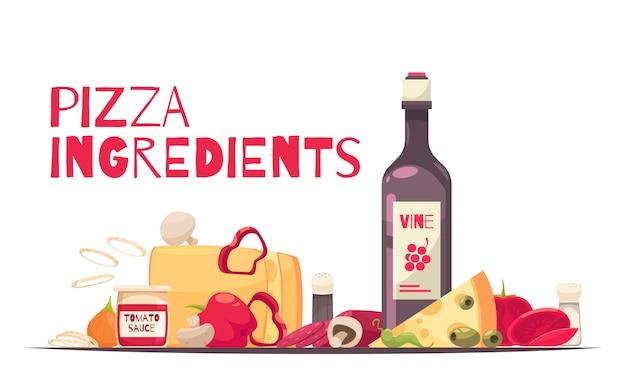 La composizione colorata e piana nella pizza con il titolo degli ingredienti della pizza e la bottiglia di vino vector l'illustrazione Vettore gratuito