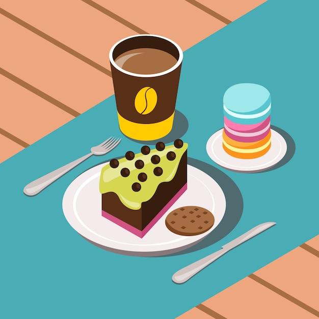 La composizione dolce nel fumetto della prima colazione con le torte ed i biscotti di caffè vector l'illustrazione Vettore Premium