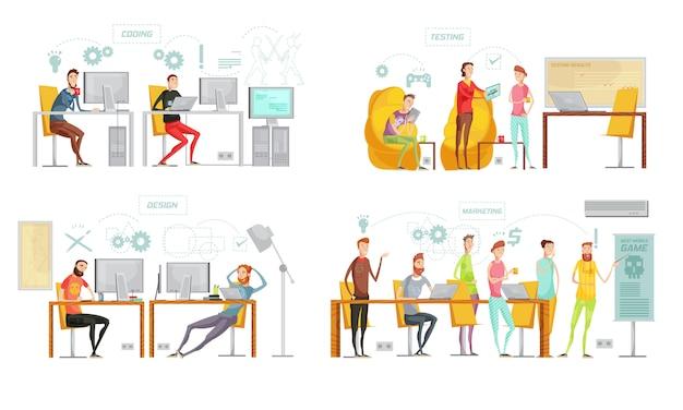 La composizione in quadricromia isolata quattro di sviluppo del gioco ha messo con la progettazione di prova di codifica e le descrizioni di vendita vector l'illustrazione Vettore Premium
