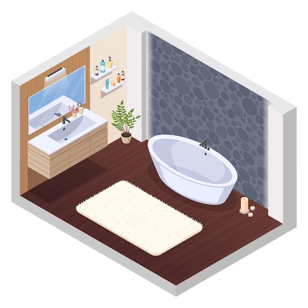 La composizione interna isometrica nel bagno con la stuoia e le candele della vasca del lavabo dello specchio delle mattonelle della parete della vasca da bagno della vasca da bagno di jaccuzi e l'illustrazione di vettore delle candele Vettore gratuito