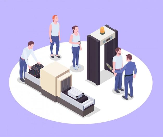 La composizione isometrica dell'aeroporto con le immagini dei dispositivi umani dei dispositivi dello scanner dei passeggeri e dei loro effetti personali vector l'illustrazione Vettore gratuito
