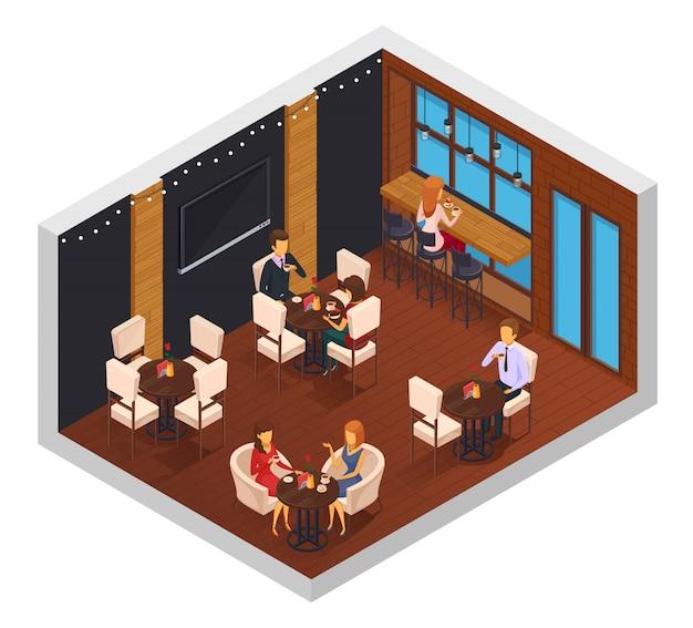 La composizione isometrica della mensa interna dei bistrot della pizzeria del ristorante della caffetteria del caffè con le tavole del set televisivo della finestra ed i caratteri dell'ospite vector l'illustrazione Vettore gratuito