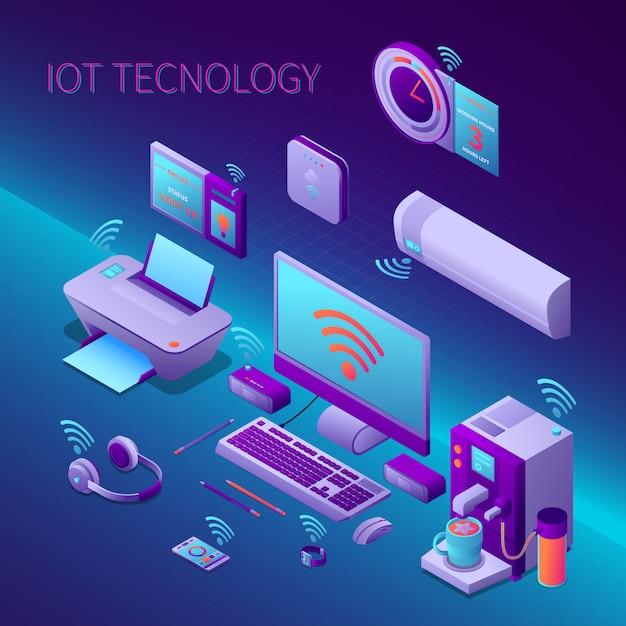 La composizione isometrica della tecnologia di iot con l'attrezzatura per ufficio e gli aggeggi personali elettronici vector l'illustrazione Vettore gratuito