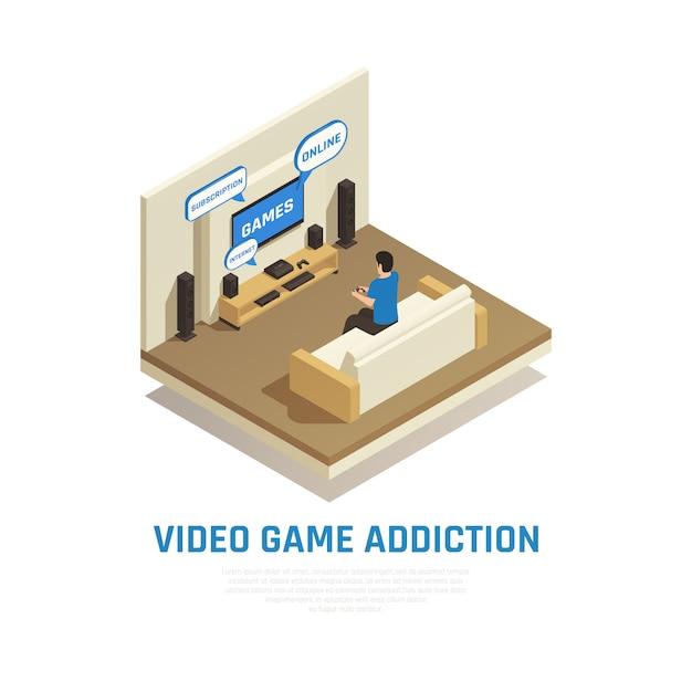 La composizione isometrica in dipendenza dell'aggeggio dello smartphone di internet con la vista del salone con la persona che gioca i video giochi vector l'illustrazione Vettore gratuito