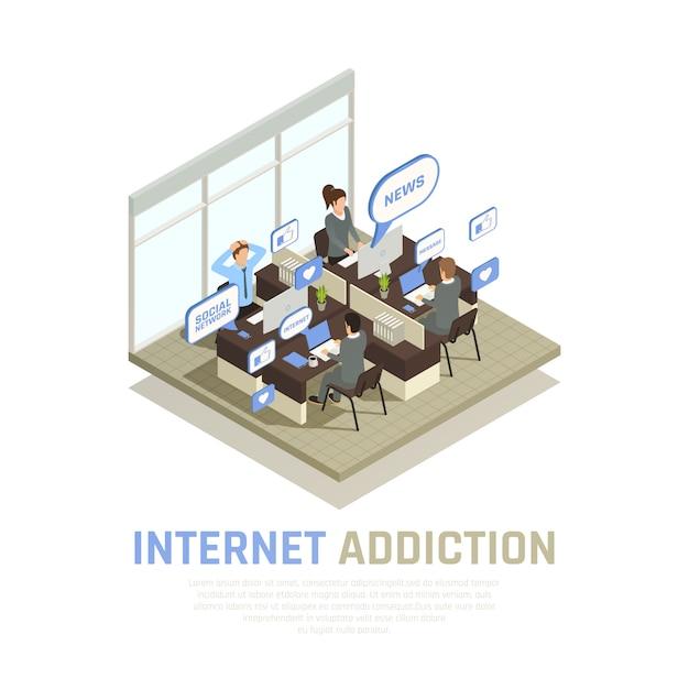 La composizione isometrica in dipendenza dell'aggeggio dello smartphone di internet con la vista della stanza dell'ufficio del cubicolo con la gente e le bolle di pensiero vector l'illustrazione Vettore gratuito
