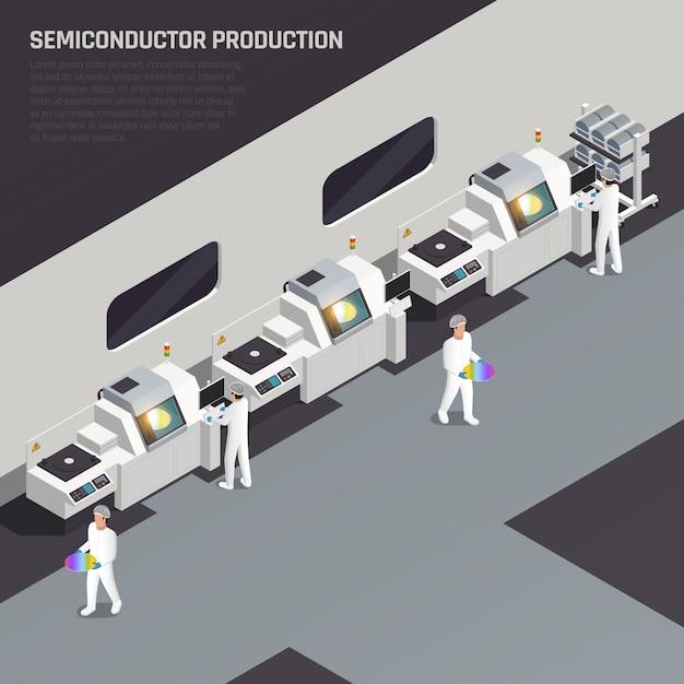 La composizione isometrica in produzione del chip di ssemiconductor con testo editabile e la manifattura alta tecnologia con i caratteri dei lavoratori vector l'illustrazione Vettore gratuito