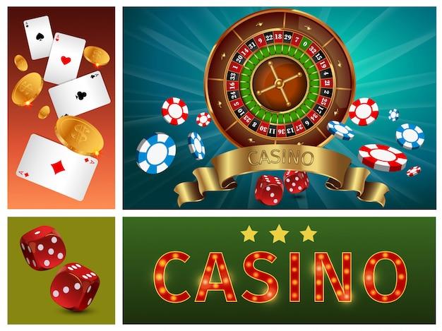 La composizione luminosa del casinò realistico con la roulette del gioco d'azzardo poker chip carte monete d'oro e dadi Vettore gratuito