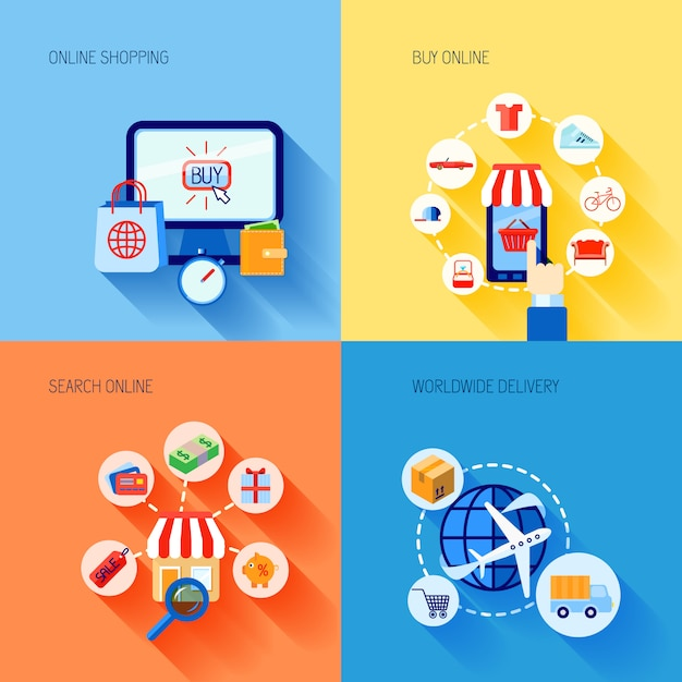 La composizione piana d'acquisto degli elementi di commercio elettronico di acquisto messa con la consegna in tutto il mondo di ricerca ha isolato l'illustrazione di vettore Vettore gratuito