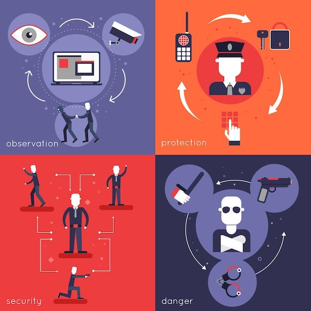 La composizione piana degli elementi della guardia giurata ha messo con l'illustrazione di vettore isolata polizia di protezione del pericolo di sicurezza di osservazione Vettore gratuito