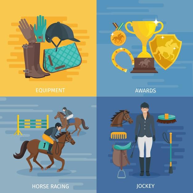 La composizione piana di progettazione di colore che descrive il concetto dell'equitazione dell'attrezzatura di corsa di cavalli controlla l'illustrazione di vettore della puleggia tenditrice Vettore Premium