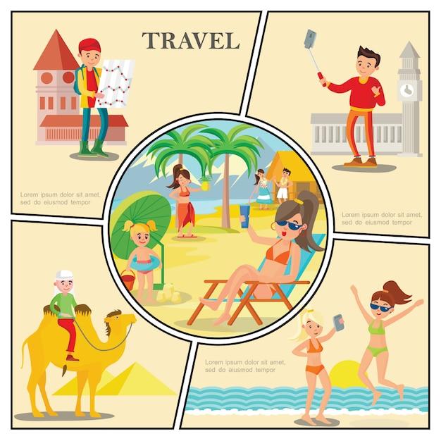 La composizione piana di viaggio con le donne si rilassa sull'uomo della spiaggia che guida i turisti del cammello vicino alle viste del mondo famoso Vettore gratuito