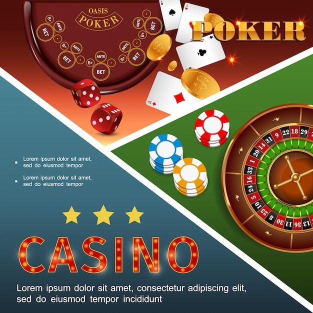 La composizione variopinta del casinò realistico con i chip della roulette del tavolo da poker taglia le monete d'oro delle carte da gioco Vettore gratuito