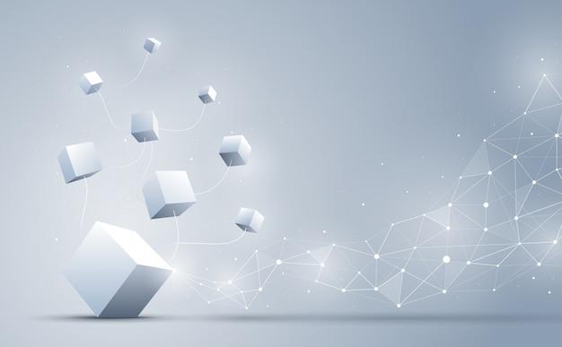 La connessione di cubi 3d con poligonale geometrica astratta con punti e linee di collegamento. sfondo astratto blockchain e concetto di big data. illustrazione. Vettore Premium