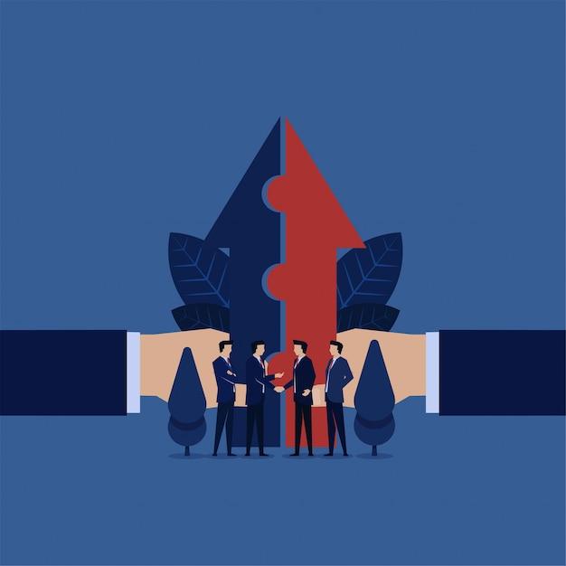 La cooperazione aziendale ha messo insieme una freccia per una visione. Vettore Premium