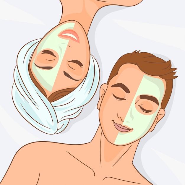 La coppia sta rilassando in una stazione termale Vettore Premium