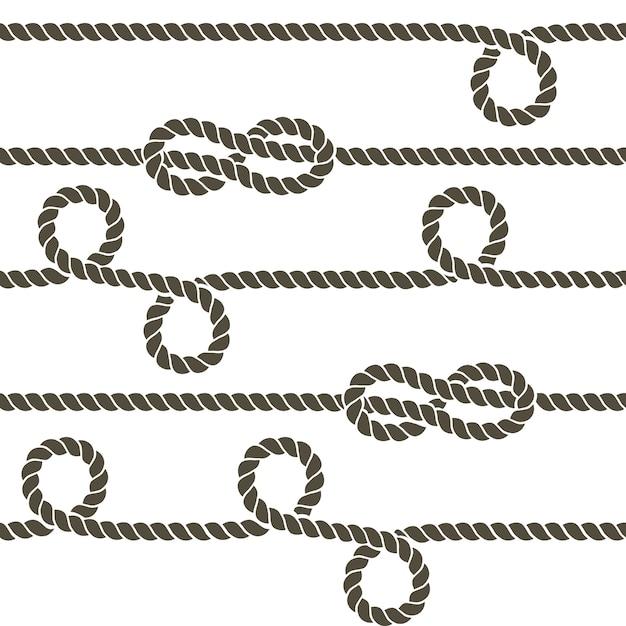 La corda della marina con i nodi marini vector il modello senza cuciture Vettore Premium