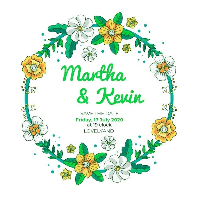 La cornice floreale di nozze salva la data con i fiori Vettore gratuito