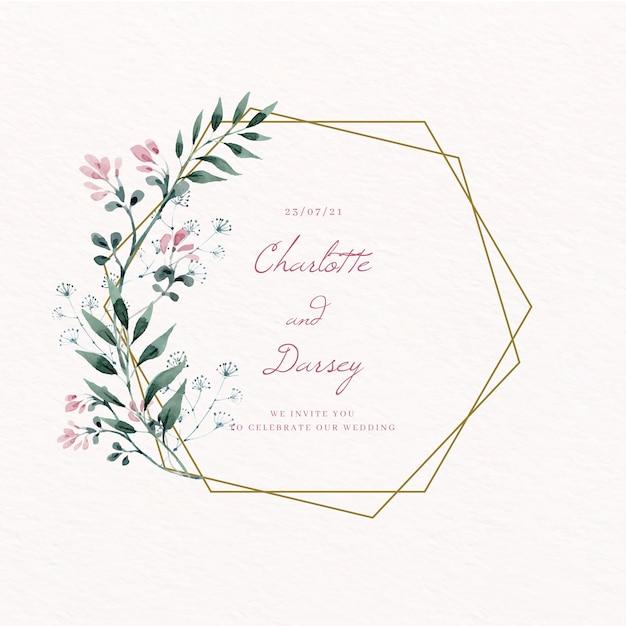 La cornice floreale dorata di nozze salva la data Vettore gratuito