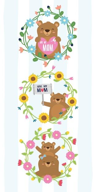 La corona sveglia degli orsi fiorisce gli orsi del giorno di madri nell'illustrazione della struttura del fiore Vettore gratuito