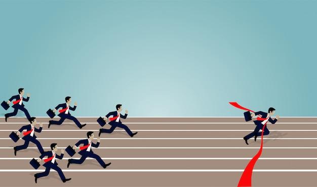 La corsa dell'uomo d'affari si precipita al rosso del traguardo Vettore Premium