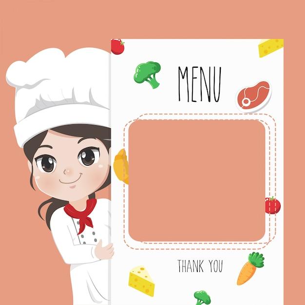 La cuoca consiglia il menu del cibo, Vettore Premium