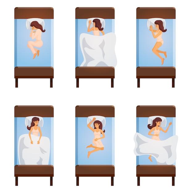 La donna che dorme posa vista dall'alto Vettore gratuito