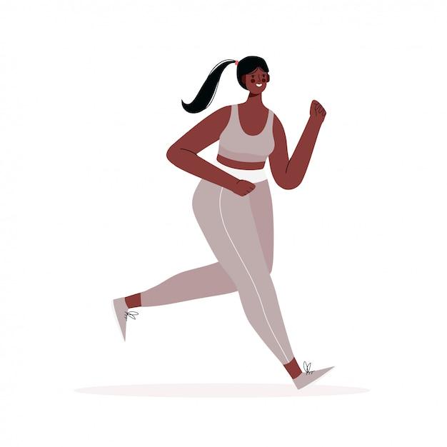 La donna corrente si è vestita in abiti sportivi isolati su un fondo bianco mattina che pareggia. stile di vita attivo e sano. competizione sportiva, allenamento all'aperto o esercizio fisico, atletica leggera. illustrazione piatta. Vettore Premium