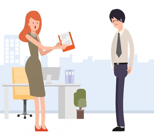 La donna di affari assegna il lavoro all'uomo d'affari Vettore Premium