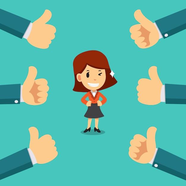La donna di affari felice con molti pollici aumenta le mani Vettore Premium