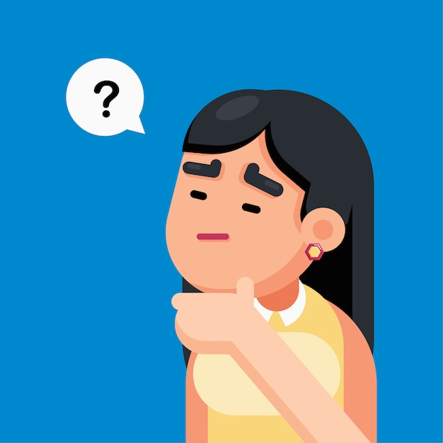 La donna è confusa e pensando con segno di punti interrogativi Vettore Premium