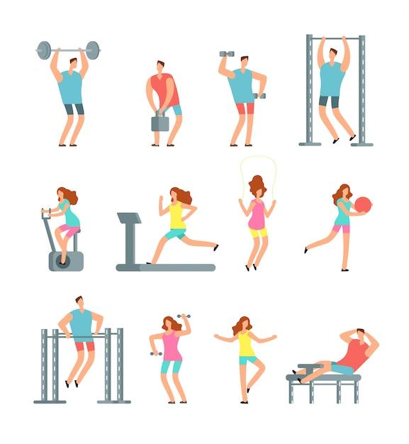 La donna e l'uomo che fanno vari sport si esercitano con l'attrezzatura da palestra Vettore Premium