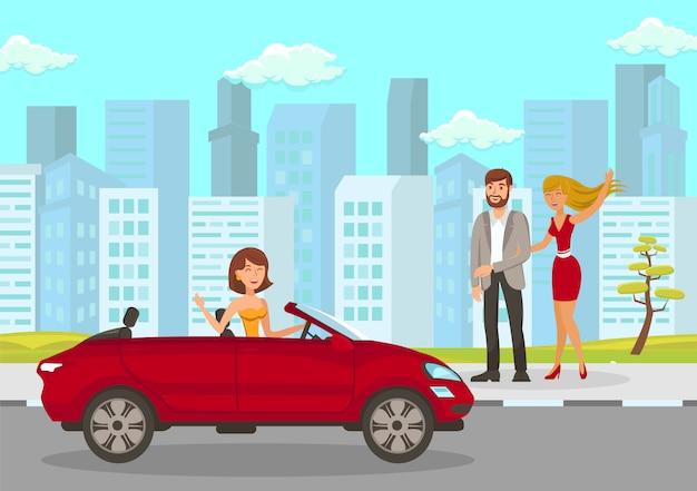 La donna felice incontra l'illustrazione piana di vettore degli amici Vettore Premium