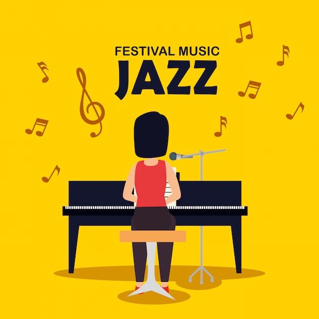 La donna gioca la musica dello strumento del piano Vettore gratuito