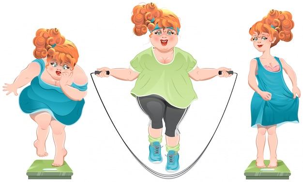 La donna grassa fissa le squame. ha perso peso. ragazza dai capelli rossi sottile in piedi sulle scale Vettore Premium