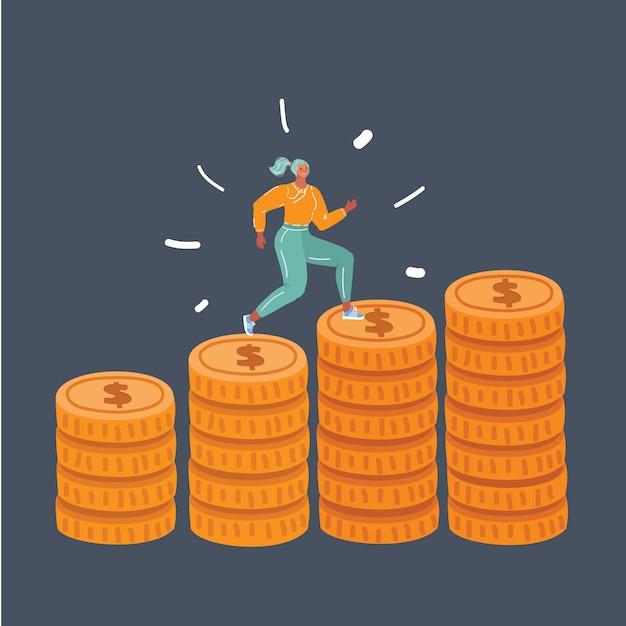 La donna ha funzionato sulle monete della pila su oscurità Vettore Premium