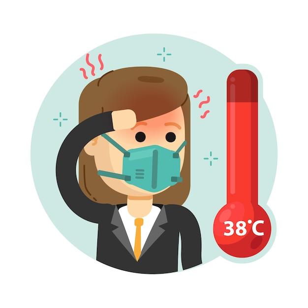 La donna ha la febbre alta e fredda. controllo del corpo tramite termometro digitale. Vettore Premium