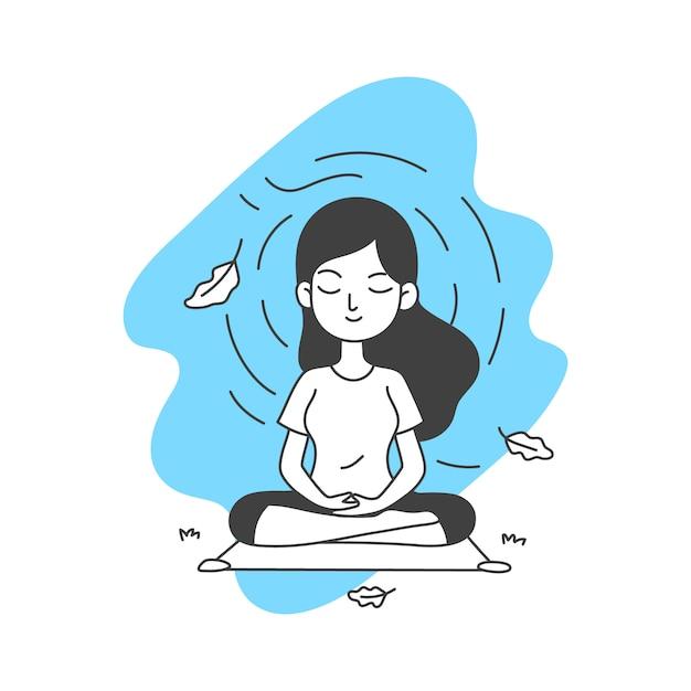 La donna medita l'illustrazione di vettore nella linea semplice e pulita stile del fumetto di arte Vettore Premium