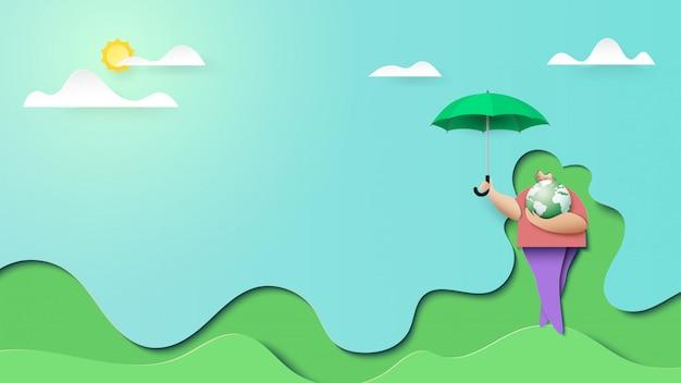 La donna salva lo stile verde di arte del documento introduttivo della pagina di atterraggio del pianeta Vettore Premium