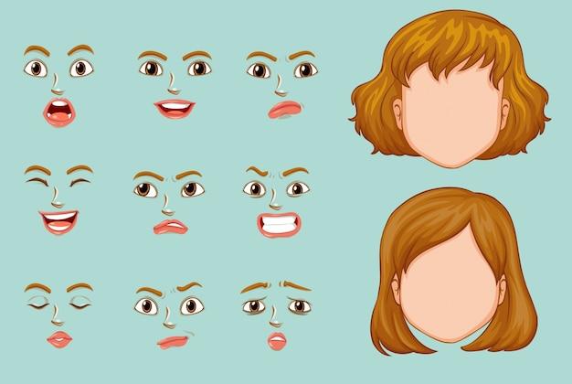 La donna si affaccia con espressioni diverse Vettore gratuito