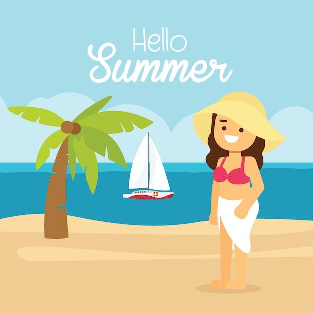 La donna va viaggiare in vacanza estiva, ragazza su una spiaggia soleggiata con una palma. Vettore Premium